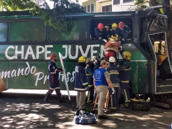 Três ficam feridos após ônibus com símbolo da Chapecoense bater contra árvore no Paraná