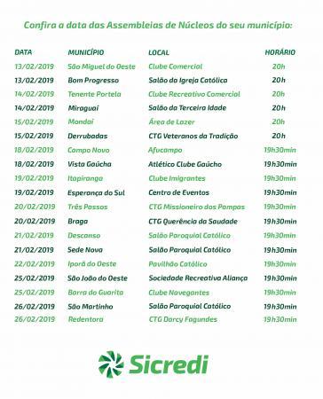 Sicredi Celeiro iniciará o roteiro de assembleias 2019 no dia 13