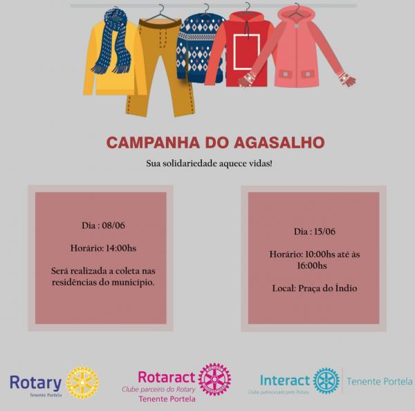 Clube de serviço promove Campanha do Agasalho em Tenente Portela