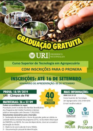 URI-FW promove Curso Superior de Tecnologia em Agropecuária