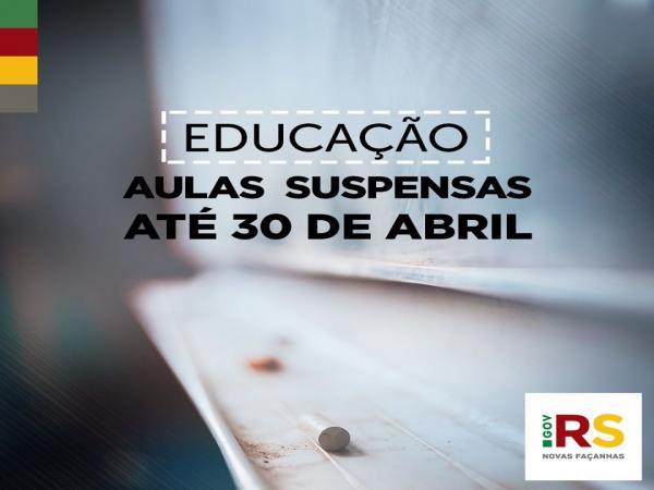 Governo amplia o período de suspensão das aulas na rede estadual até o dia 30 de abril