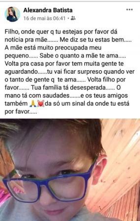 Caso Rafael: Mãe fez postagem em rede social pedindo a volta do filho desaparecido