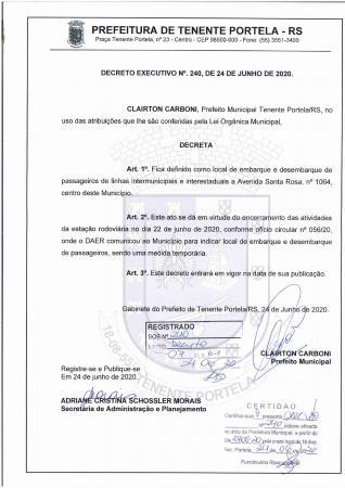 Prefeito estabelece através de decreto local para embarque e desembarque em Tenente Portela