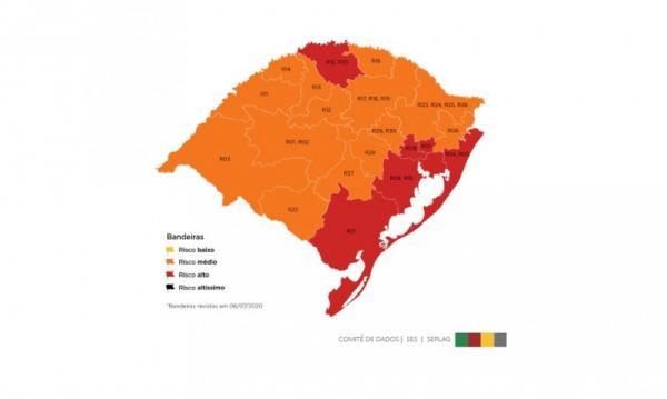 Seis regiões ficam com bandeira vermelha no mapa do distanciamento controlado