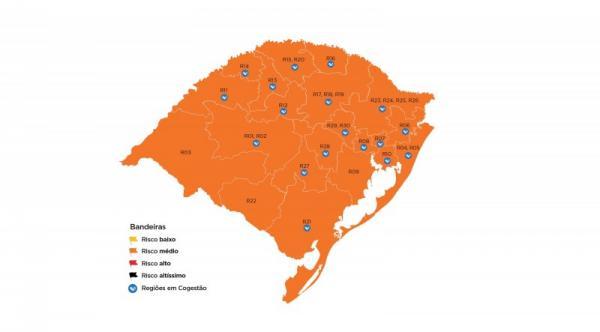 Mapa prévio do distanciamento controlado tem, pela 1ª vez, todas as regiões em laranja