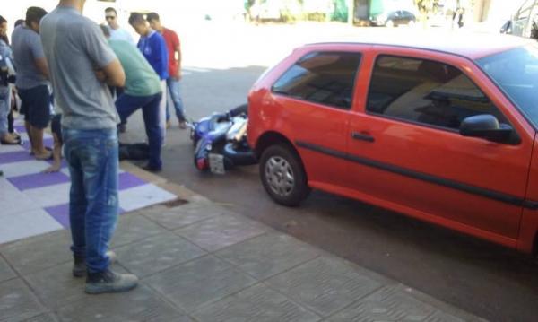 Motociclista fica ferido após acidente em Tenente Portela