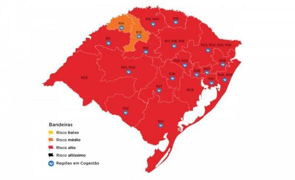Doze municípios da Região Celeiro ficam em bandeira vermelha na 36ª rodada