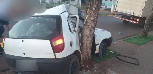 Coronel Bicaco: Jovem fica ferido após o carro que conduzia bater em árvore