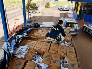 165 mil maços de cigarros contrabandeados são apreendidos em Ametista do Sul